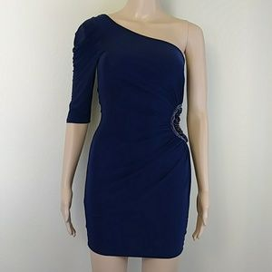 [Foreign Exchange] Blue One Shoulder Cut Out Dress